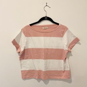 Madewell Pink and White Stripe Tee